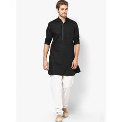 Black Solid Slim Fit Kurta