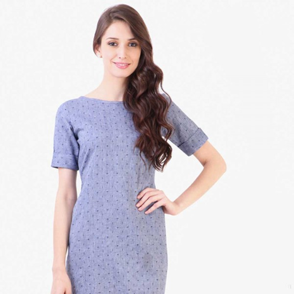 Blue Colored Printed Shift Dress