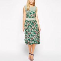 White & Green Floral Sleeveless Dress