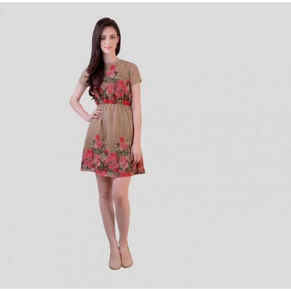 Beige Colored Printed Dress