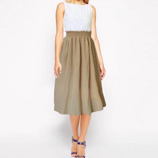 Beige/White Dress