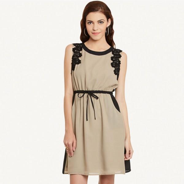 Beige Solid Dress