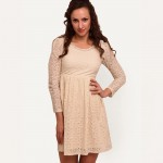 Beige Solid Shift Dress