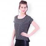 Black Checked Loose Fit Top