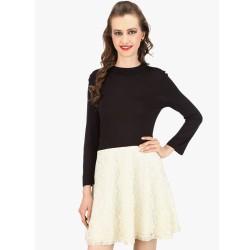 Black Solid Skater Dress