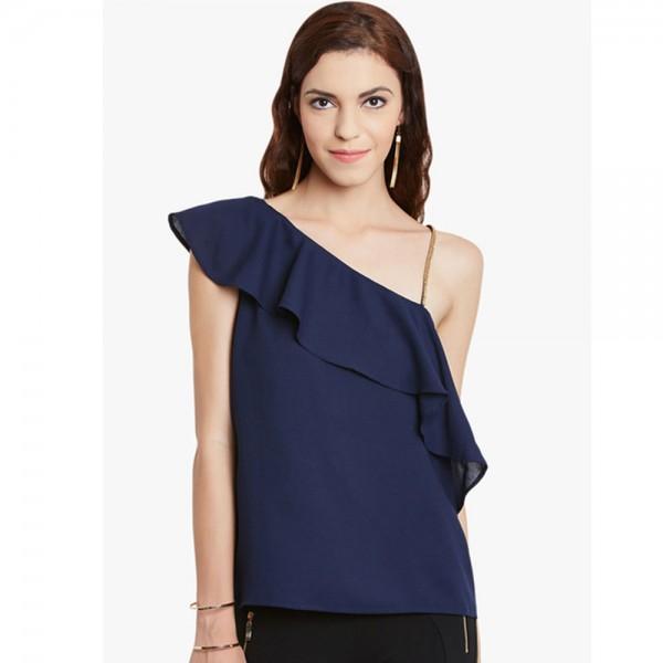 Navy Blue Embellished Top